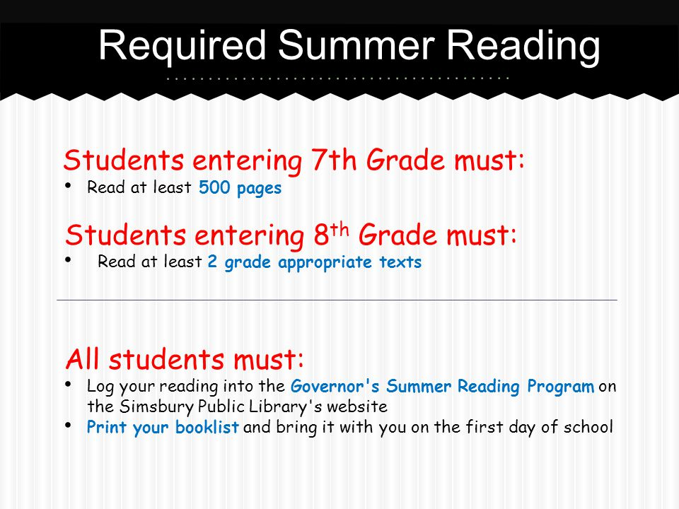 Required Summer Reading Students entering 7th Grade must: Read at least 500 pages Students entering 8 th Grade must: Read at least 2 grade appropriate