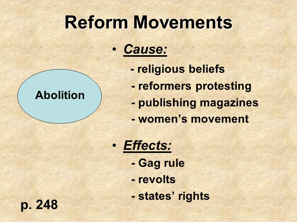 Reform Movements Cause: - religious beliefs - reformers protesting - publishing magazines - women's movement Effects: - Gag rule - revolts - states' r