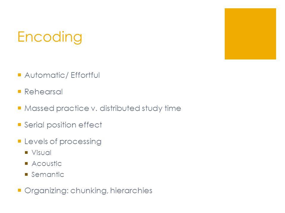 Encoding  Automatic/ Effortful  Rehearsal  Massed practice v.