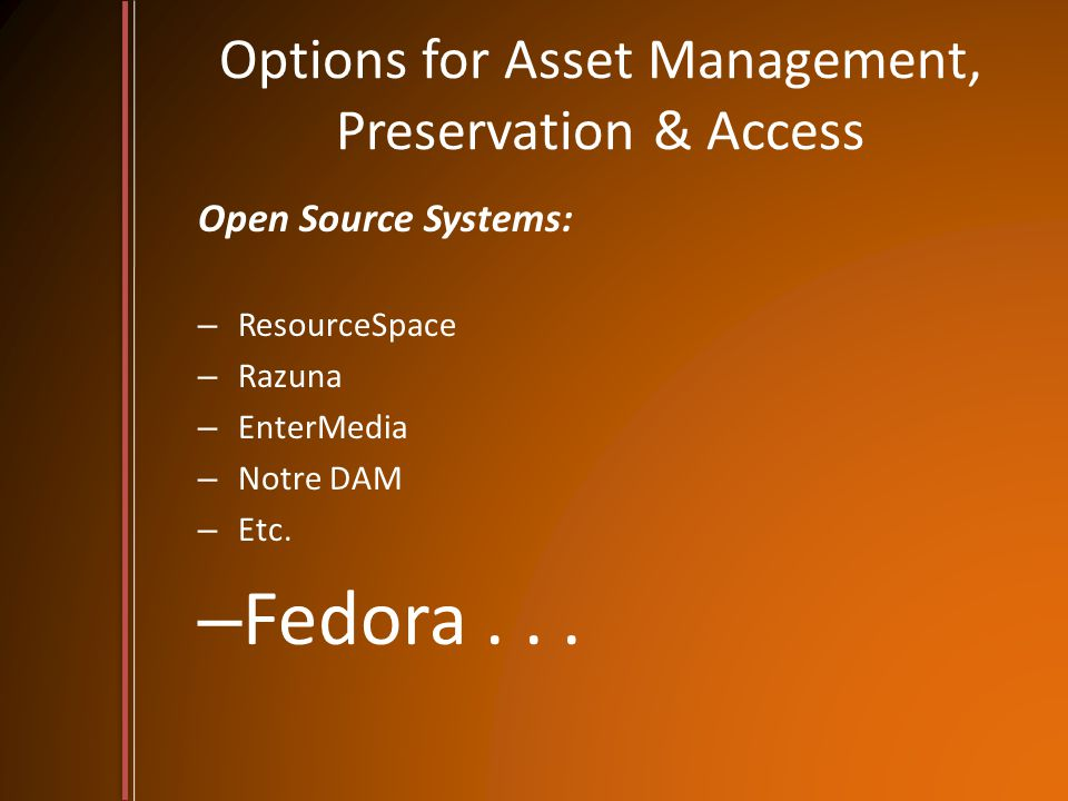 Options for Asset Management, Preservation & Access Open Source Systems: – ResourceSpace – Razuna – EnterMedia – Notre DAM – Etc.