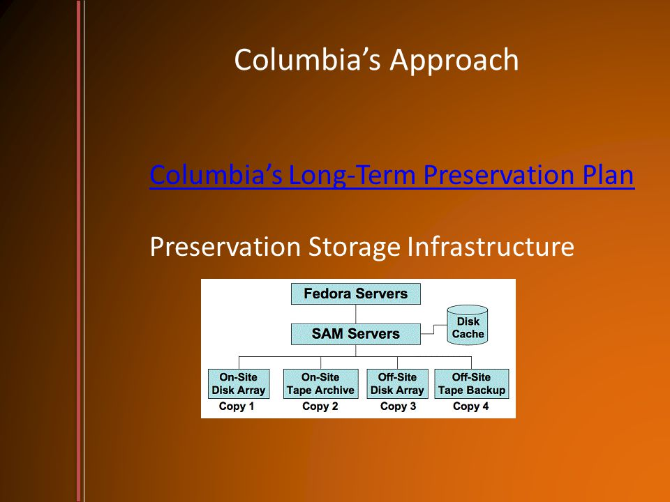 Columbia's Approach Columbia's Long-Term Preservation Plan Columbia's Long-Term Preservation Plan Preservation Storage Infrastructure
