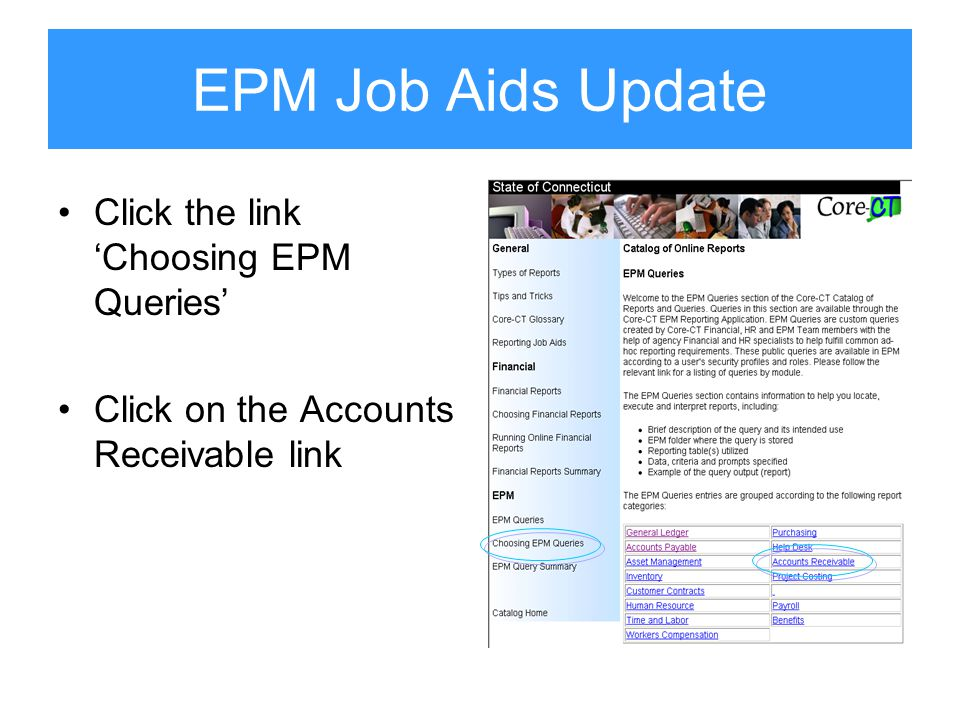 EPM Job Aids Update Click the link 'Choosing EPM Queries' Click on the Accounts Receivable link