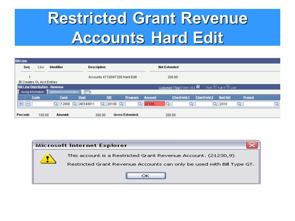 Restricted Grant Revenue Accounts Hard Edit