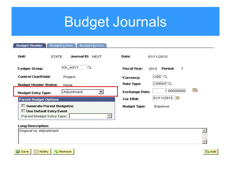 Budget Journals