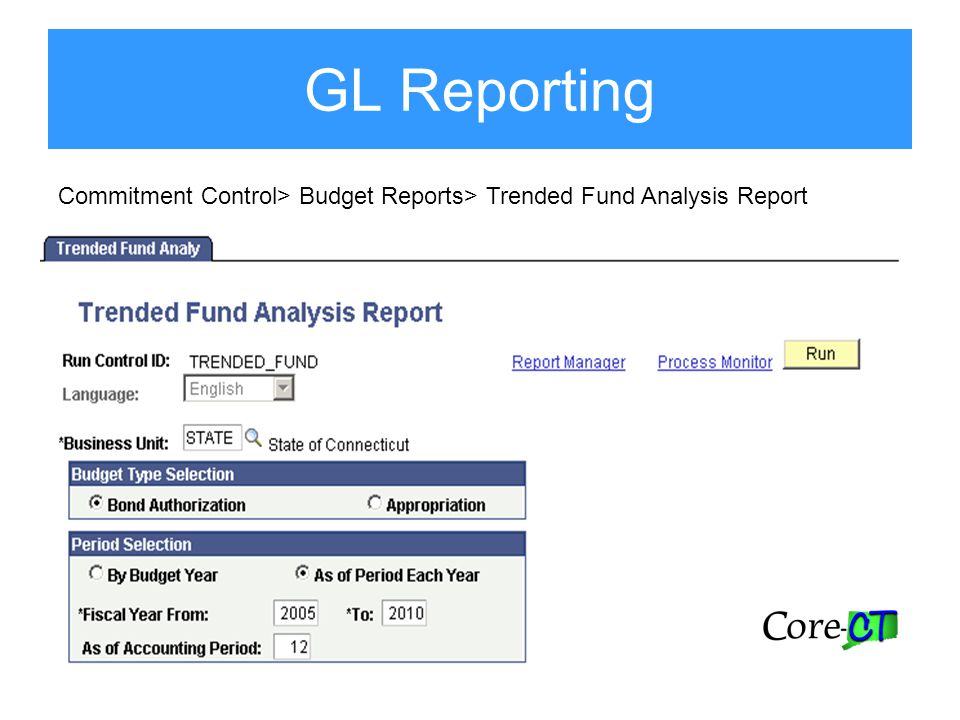 GL Reporting Commitment Control> Budget Reports> Trended Fund Analysis Report