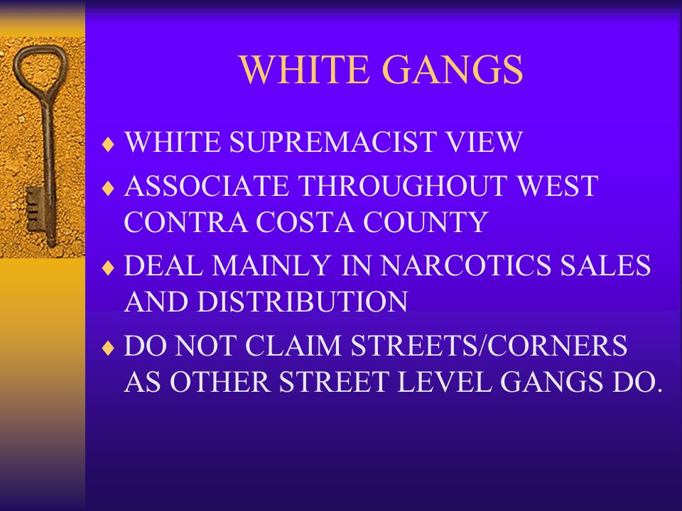 WHITE GANGS  WHITE SUPREMACIST VIEW  ASSOCIATE THROUGHOUT WEST CONTRA COSTA COUNTY  DEAL MAINLY IN NARCOTICS SALES AND DISTRIBUTION  DO NOT CLAIM