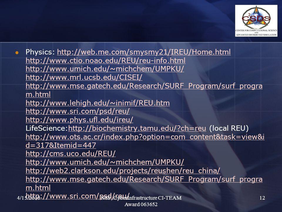 Physics: http://web.me.com/smysmy21/IREU/Home.html http://www.ctio.noao.edu/REU/reu-info.html http://www.umich.edu/~michchem/UMPKU/ http://www.mrl.ucsb.edu/CISEI/ http://www.mse.gatech.edu/Research/SURF_Program/surf_progra m.html http://www.lehigh.edu/~inimif/REU.htm http://www.sri.com/psd/reu/ http://www.phys.ufl.edu/ireu/ LifeScience:http://biochemistry.tamu.edu/ ch=reu (local REU) http://www.ots.ac.cr/index.php option=com_content&task=view&i d=317&Itemid=447 http://cms.uco.edu/REU/ http://www.umich.edu/~michchem/UMPKU/ http://web2.clarkson.edu/projects/reushen/reu_china/ http://www.mse.gatech.edu/Research/SURF_Program/surf_progra m.html http://www.sri.com/psd/reu/http://web.me.com/smysmy21/IREU/Home.html http://www.ctio.noao.edu/REU/reu-info.html http://www.umich.edu/~michchem/UMPKU/ http://www.mrl.ucsb.edu/CISEI/ http://www.mse.gatech.edu/Research/SURF_Program/surf_progra m.html http://www.lehigh.edu/~inimif/REU.htm http://www.sri.com/psd/reu/ http://www.phys.ufl.edu/ireu/http://biochemistry.tamu.edu/ ch=reu http://www.ots.ac.cr/index.php option=com_content&task=view&i d=317&Itemid=447 http://cms.uco.edu/REU/ http://www.umich.edu/~michchem/UMPKU/ http://web2.clarkson.edu/projects/reushen/reu_china/ http://www.mse.gatech.edu/Research/SURF_Program/surf_progra m.html http://www.sri.com/psd/reu/ 4/15/2010NSF, CyberInfrastructure CI-TEAM Award 063652 12