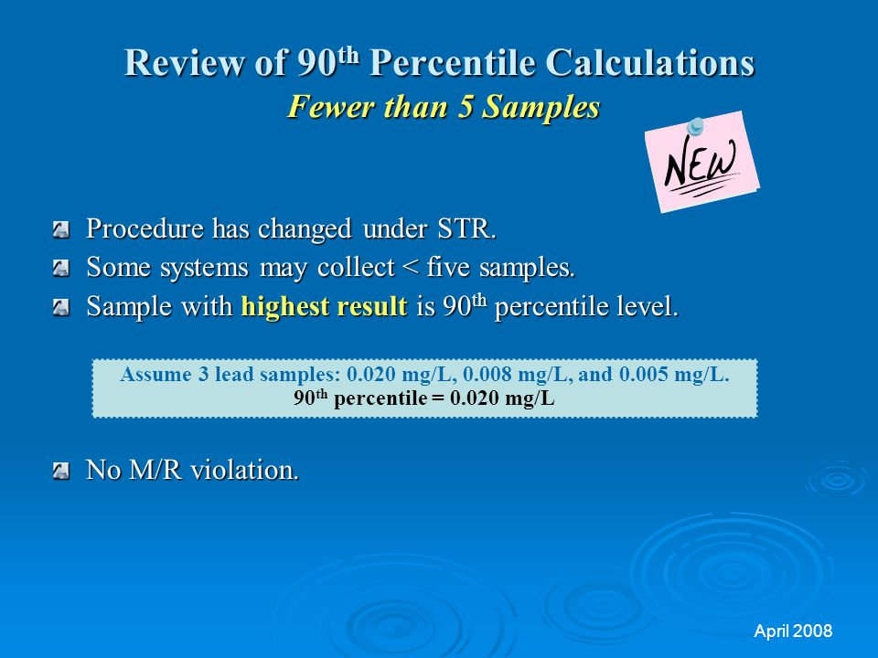 April 2008 Review of 90 th Percentile Calculations Fewer than 5 Samples Procedure has changed under STR.