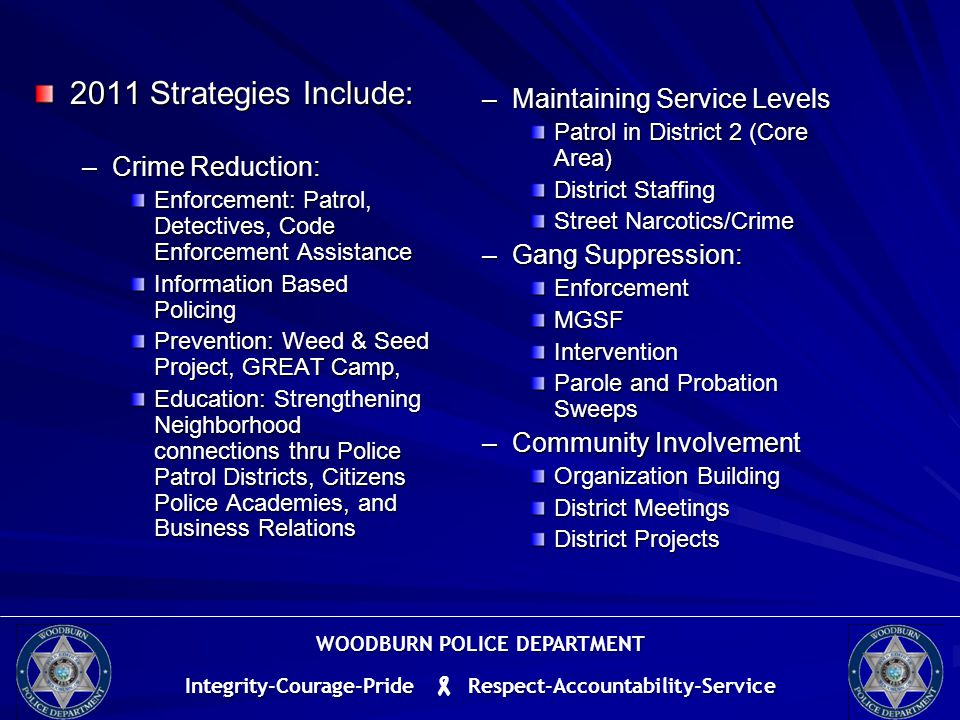 2011 Strategies Include: –Crime Reduction: Enforcement: Patrol, Detectives, Code Enforcement Assistance Information Based Policing Prevention: Weed & Seed Project, GREAT Camp, Education: Strengthening Neighborhood connections thru Police Patrol Districts, Citizens Police Academies, and Business Relations –Maintaining Service Levels Patrol in District 2 (Core Area) District Staffing Street Narcotics/Crime –Gang Suppression: Enforcement MGSF Intervention Parole and Probation Sweeps –Community Involvement Organization Building District Meetings District Projects WOODBURN POLICE DEPARTMENT Integrity-Courage-Pride  Respect-Accountability-Service