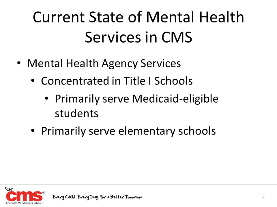 Mental Health Agency Services Concentrated in Title I Schools Primarily serve Medicaid-eligible students Primarily serve elementary schools 3