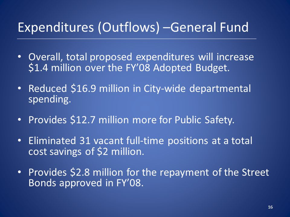 Expenditures (Outflows) –General Fund Overall, total proposed expenditures will increase $1.4 million over the FY'08 Adopted Budget.