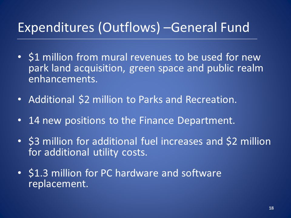 Expenditures (Outflows) –General Fund $1 million from mural revenues to be used for new park land acquisition, green space and public realm enhancements.