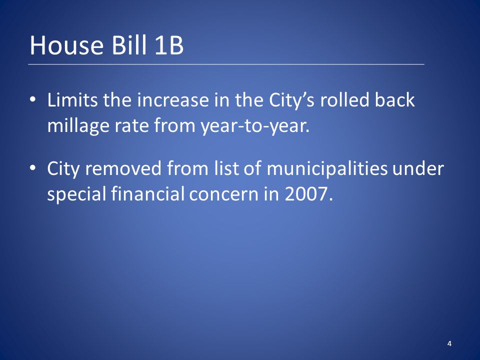 House Bill 1B Limits the increase in the City's rolled back millage rate from year-to-year.