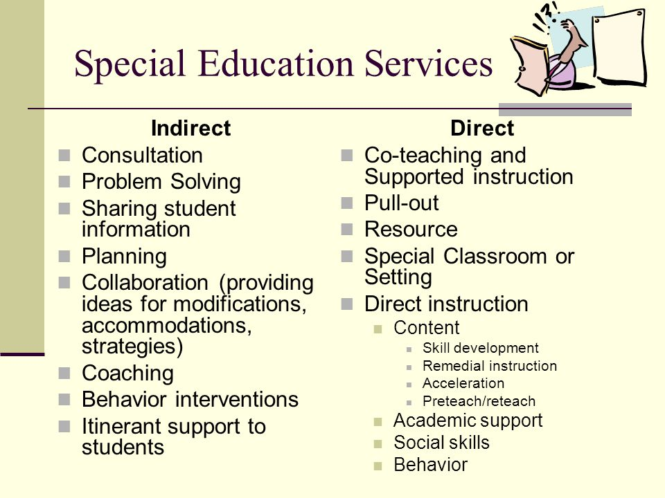 Special Education Services Indirect Consultation Problem Solving Sharing student information Planning Collaboration (providing ideas for modifications