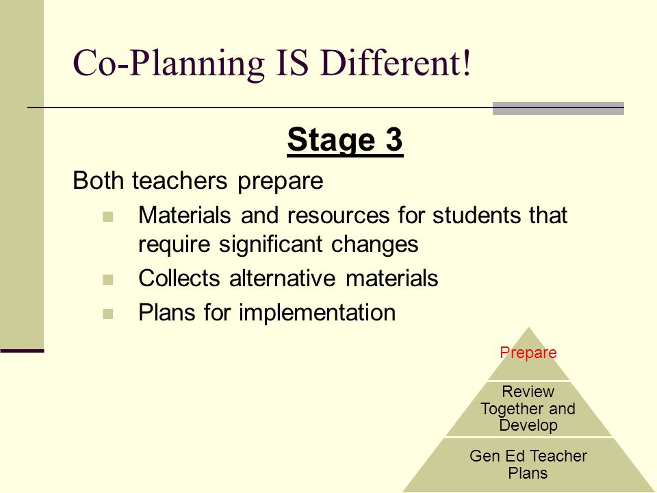 Co-Planning IS Different! Stage 3 Both teachers prepare Materials and resources for students that require significant changes Collects alternative mat