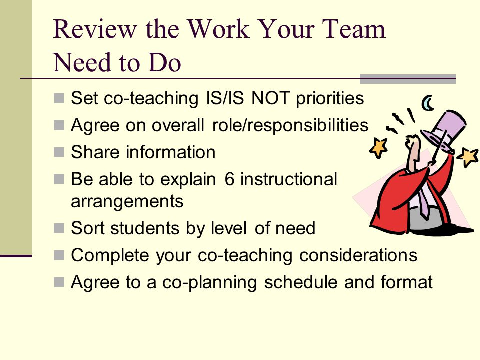 Review the Work Your Team Need to Do Set co-teaching IS/IS NOT priorities Agree on overall role/responsibilities Share information Be able to explain
