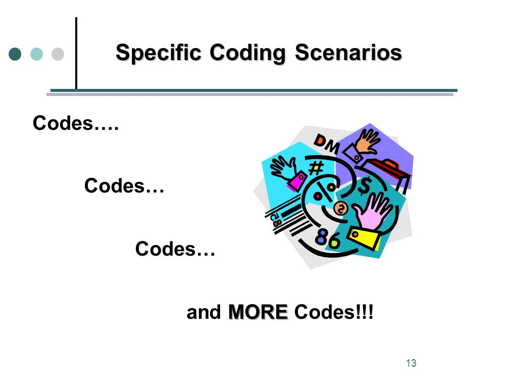 Codes…. Codes… MORE and MORE Codes!!! Specific Coding Scenarios 13