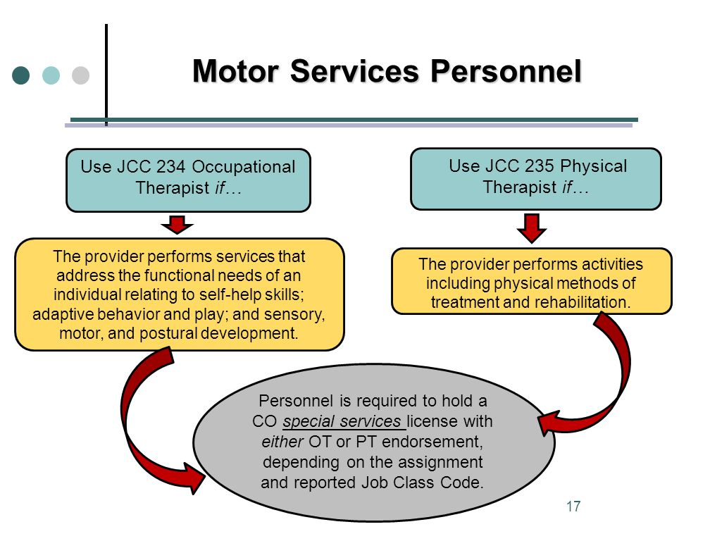 Motor Services Personnel Use JCC 234 Occupational Therapist if… Use JCC 235 Physical Therapist if… The provider performs services that address the functional needs of an individual relating to self-help skills; adaptive behavior and play; and sensory, motor, and postural development.