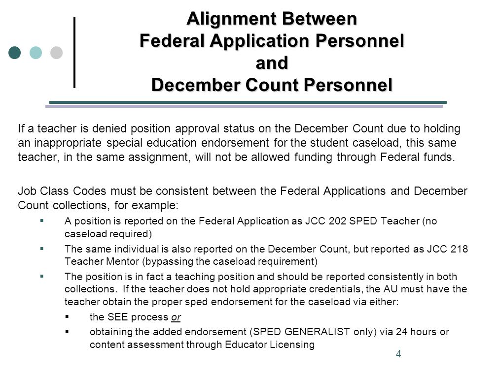 If a teacher is denied position approval status on the December Count due to holding an inappropriate special education endorsement for the student caseload, this same teacher, in the same assignment, will not be allowed funding through Federal funds.