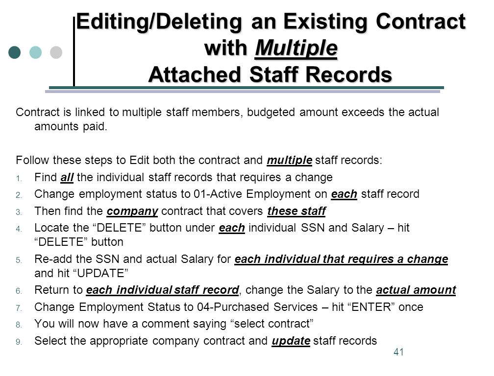 Editing/Deleting an Existing Contract with Multiple Attached Staff Records 41 Contract is linked to multiple staff members, budgeted amount exceeds the actual amounts paid.