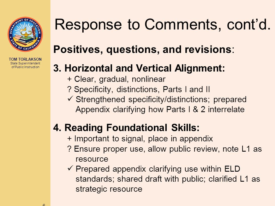 TOM TORLAKSON State Superintendent of Public Instruction 47 Appendix: CA ELD Standards Part II: Learning About How English Works Perspective on how to support EL students using Parts I and II in concert: Language Demands of the Common Core Description of how language is integrated into the Common Core Moving From Everyday to Academic Registers Strategies to support transition to academic registers Application of Part II strands