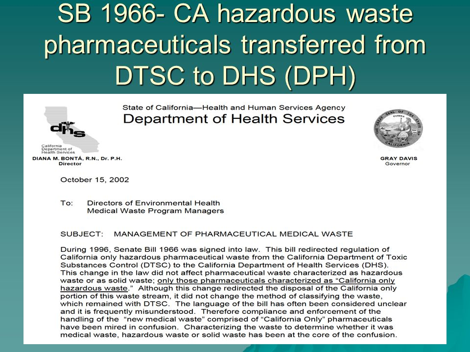 SB 1966- CA hazardous waste pharmaceuticals transferred from DTSC to DHS (DPH)