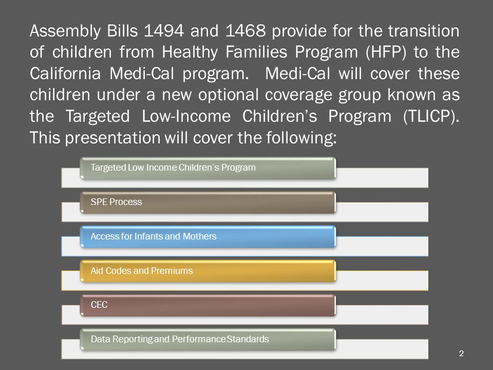 2 Assembly Bills 1494 and 1468 provide for the transition of children from Healthy Families Program (HFP) to the California Medi-Cal program.