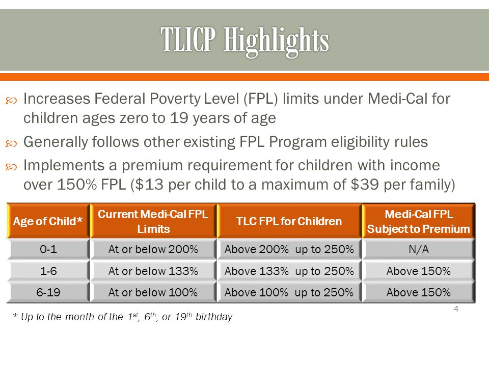  Increases Federal Poverty Level (FPL) limits under Medi-Cal for children ages zero to 19 years of age  Generally follows other existing FPL Program eligibility rules  Implements a premium requirement for children with income over 150% FPL ($13 per child to a maximum of $39 per family) 4 * Up to the month of the 1 st, 6 th, or 19 th birthday