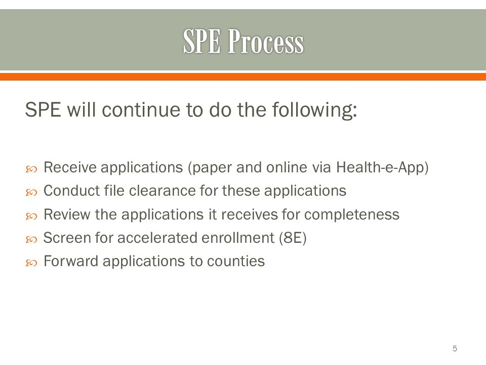 SPE will continue to do the following:  Receive applications (paper and online via Health-e-App)  Conduct file clearance for these applications  Review the applications it receives for completeness  Screen for accelerated enrollment (8E)  Forward applications to counties 5