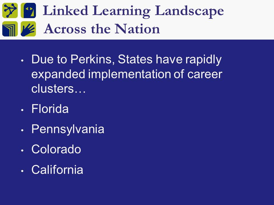 Linked Learning Landscape Across the Nation Due to Perkins, States have rapidly expanded implementation of career clusters… Florida Pennsylvania Colorado California