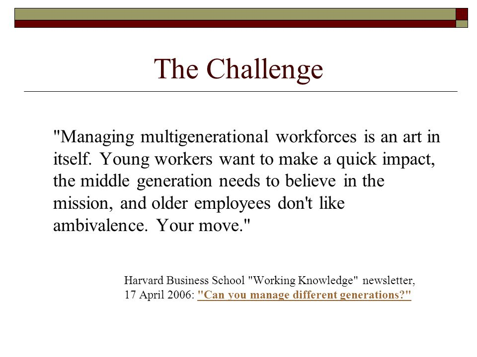 The Challenge Managing multigenerational workforces is an art in itself.