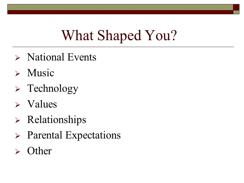 What Shaped You.