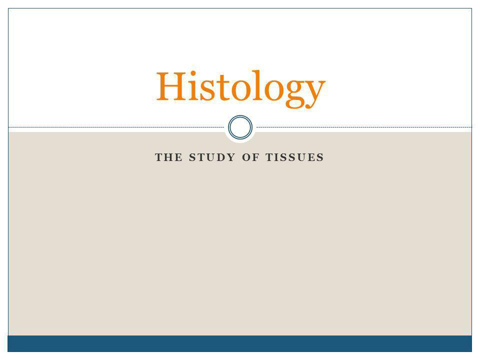 THE STUDY OF TISSUES Histology