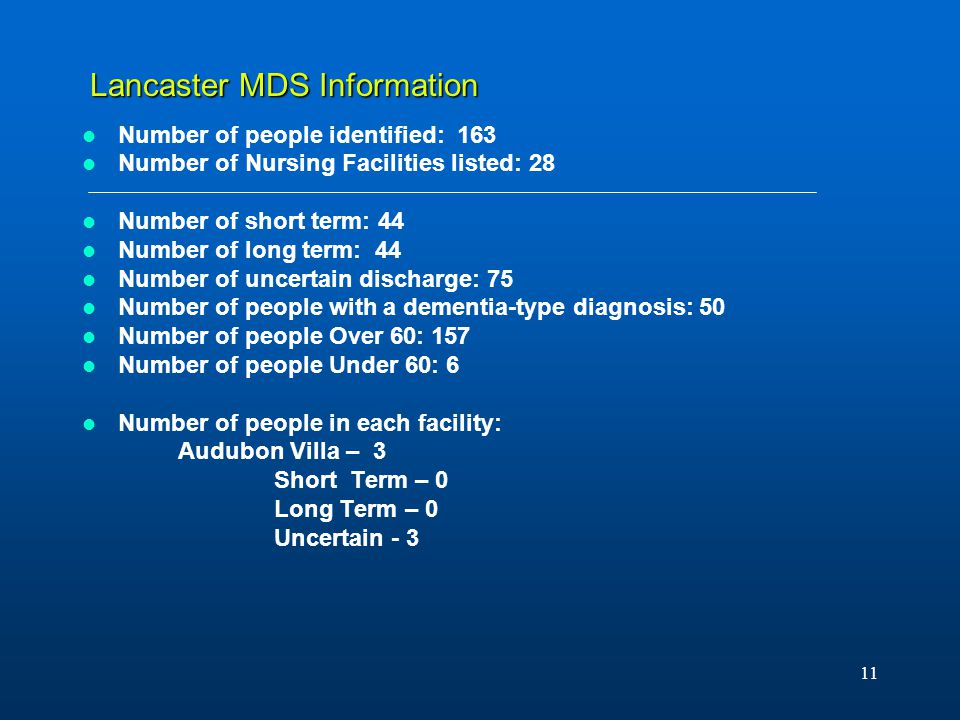 11 Lancaster MDS Information Number of people identified: 163 Number of Nursing Facilities listed: 28 Number of short term: 44 Number of long term: 44 Number of uncertain discharge: 75 Number of people with a dementia-type diagnosis: 50 Number of people Over 60: 157 Number of people Under 60: 6 Number of people in each facility: Audubon Villa – 3 Short Term – 0 Long Term – 0 Uncertain - 3
