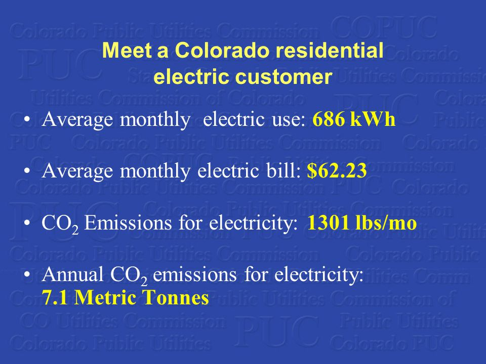 Meet a Colorado residential electric customer Average monthly electric use: 686 kWh Average monthly electric bill: $62.23 CO 2 Emissions for electricity: 1301 lbs/mo Annual CO 2 emissions for electricity: 7.1 Metric Tonnes