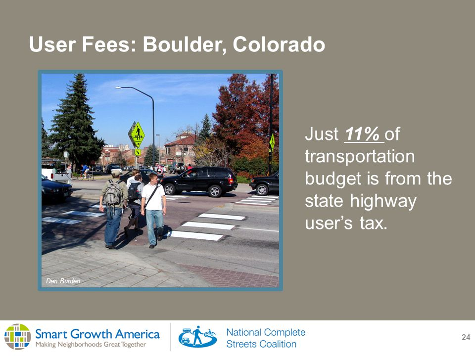 User Fees: Boulder, Colorado 24 Just 11% of transportation budget is from the state highway user's tax.