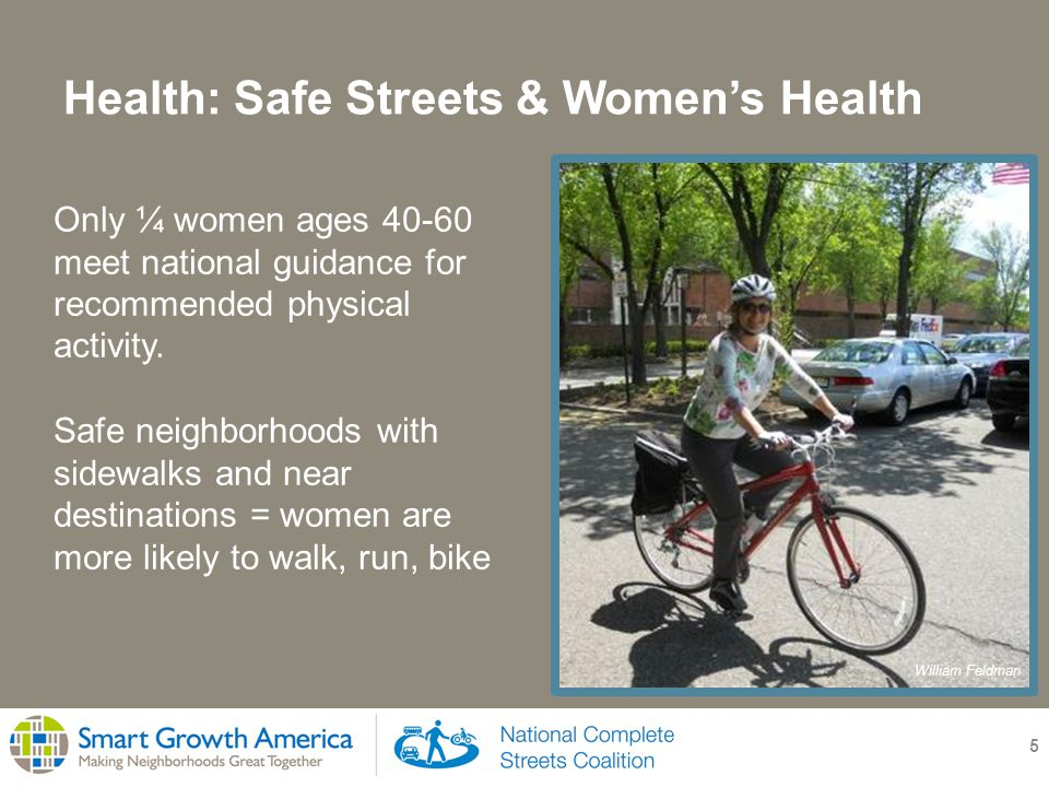 Health: Safe Streets & Women's Health 5 Only ¼ women ages meet national guidance for recommended physical activity.