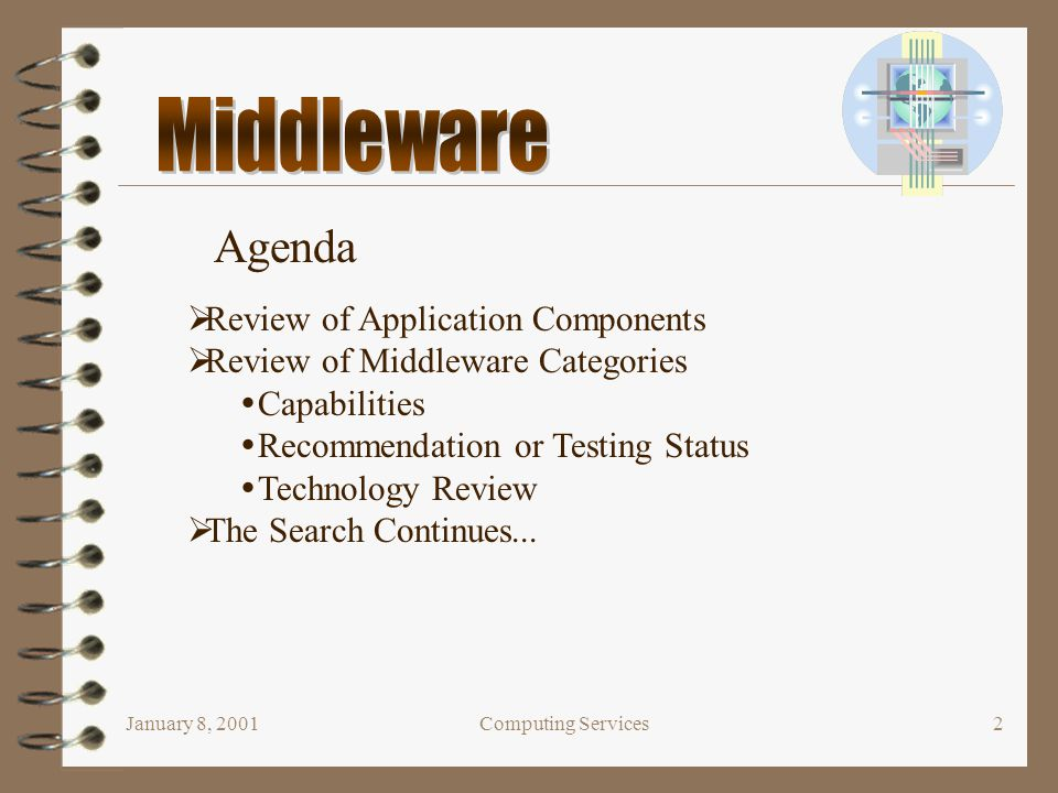 January 8, 2001Computing Services2  Review of Application Components  Review of Middleware Categories  Capabilities  Recommendation or Testing Sta