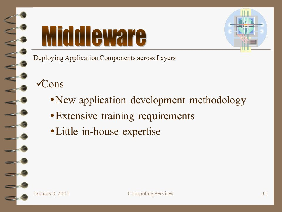 January 8, 2001Computing Services31 Deploying Application Components across Layers Cons  New application development methodology  Extensive training