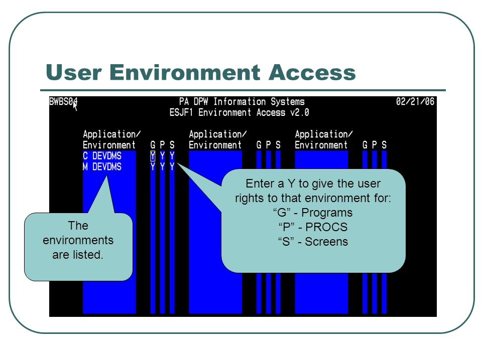 User Environment Access The environments are listed.