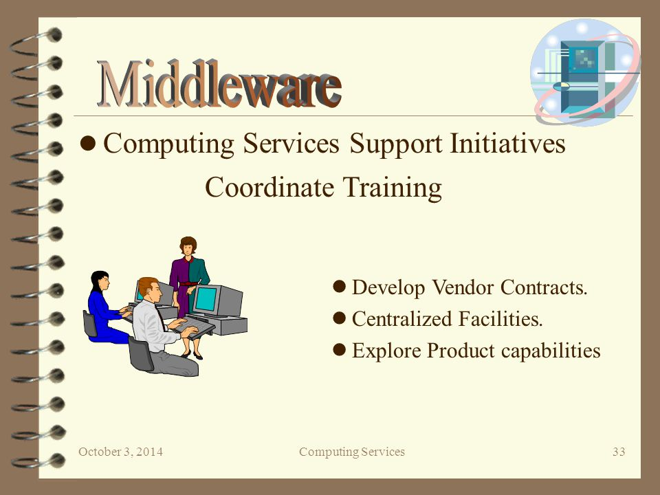 October 3, 2014Computing Services 33 Computing Services Support Initiatives Coordinate Training Develop Vendor Contracts.