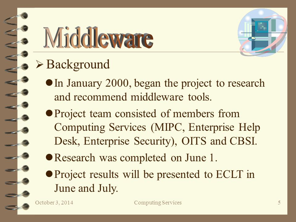 October 3, 2014Computing Services 6  Project Methodology 1.