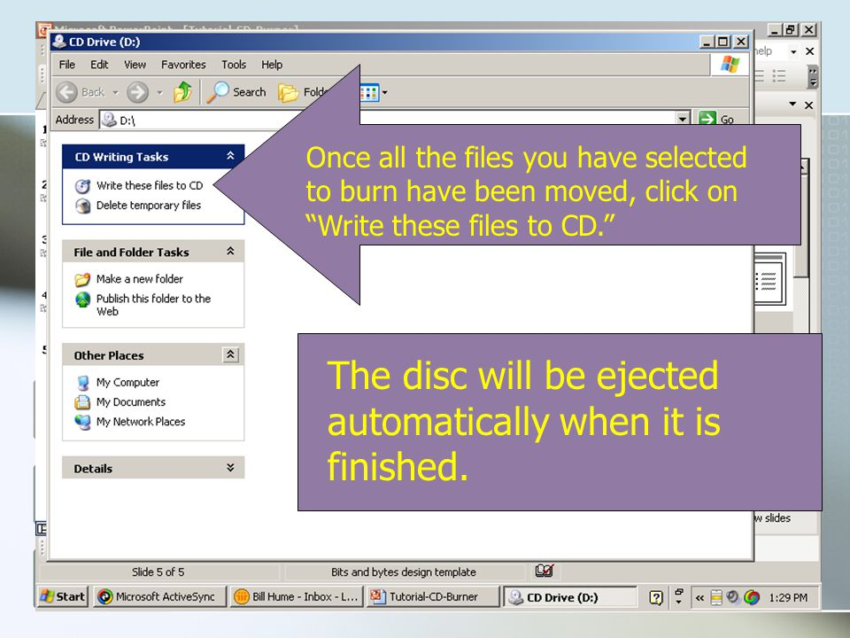 Hooking the Burner to your Laptop The procedure for using the CD- Burner with your laptop is very similar.