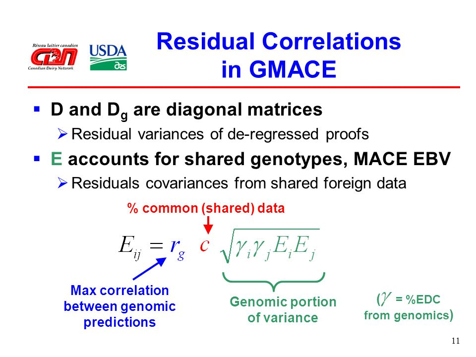 11 Residual Correlations in GMACE  D and D g are diagonal matrices  Residual variances of de-regressed proofs  E accounts for shared genotypes, MACE EBV  Residuals covariances from shared foreign data Max correlation between genomic predictions % common (shared) data Genomic portion of variance ( = %EDC from genomics )