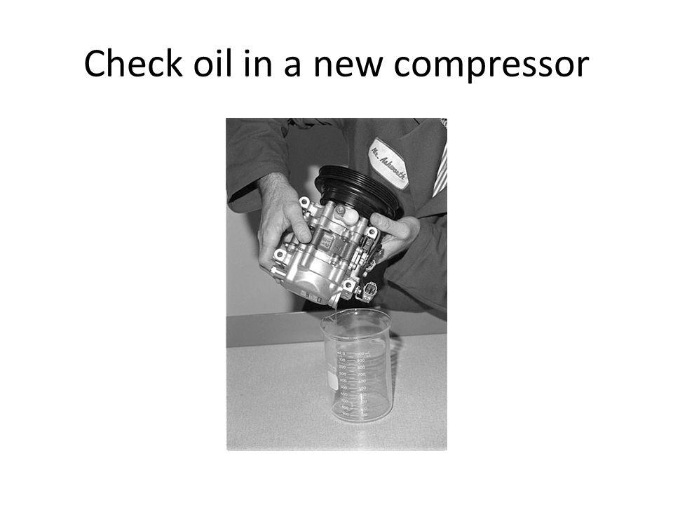 Check oil in a new compressor