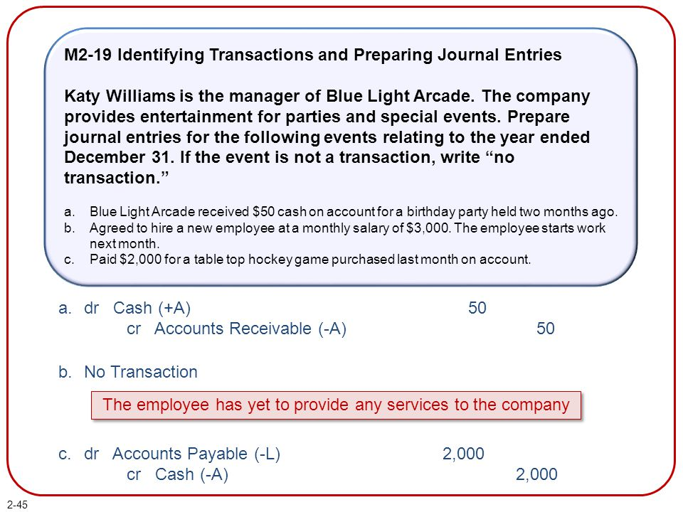 2-45 M2-19 Identifying Transactions and Preparing Journal Entries Katy Williams is the manager of Blue Light Arcade. The company provides entertainmen