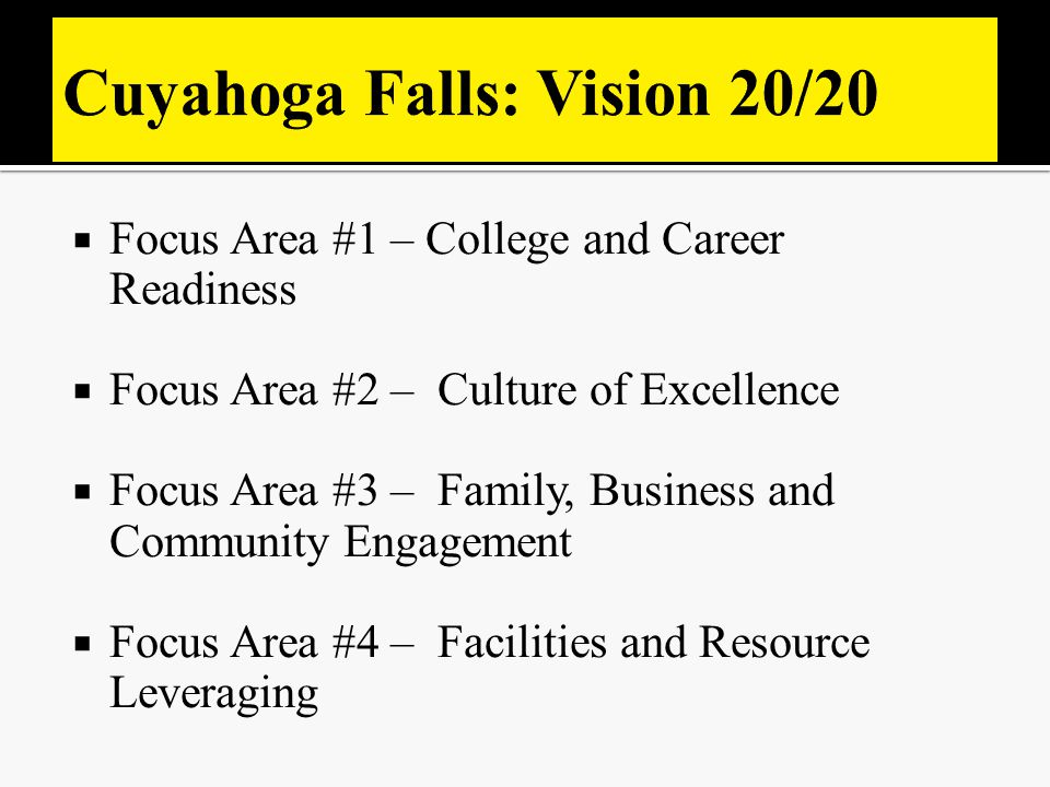  Focus Area #1 – College and Career Readiness  Focus Area #2 – Culture of Excellence  Focus Area #3 – Family, Business and Community Engagement  F