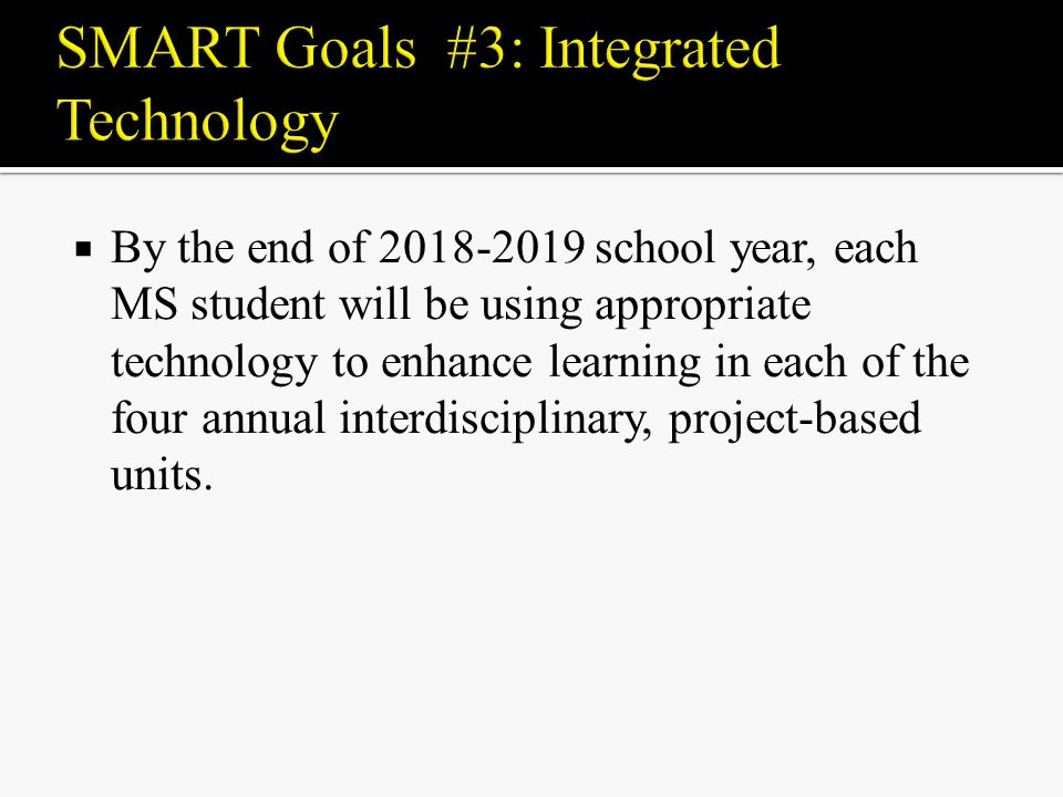  By the end of school year, each MS student will be using appropriate technology to enhance learning in each of the four annual interdisciplinary, project-based units.