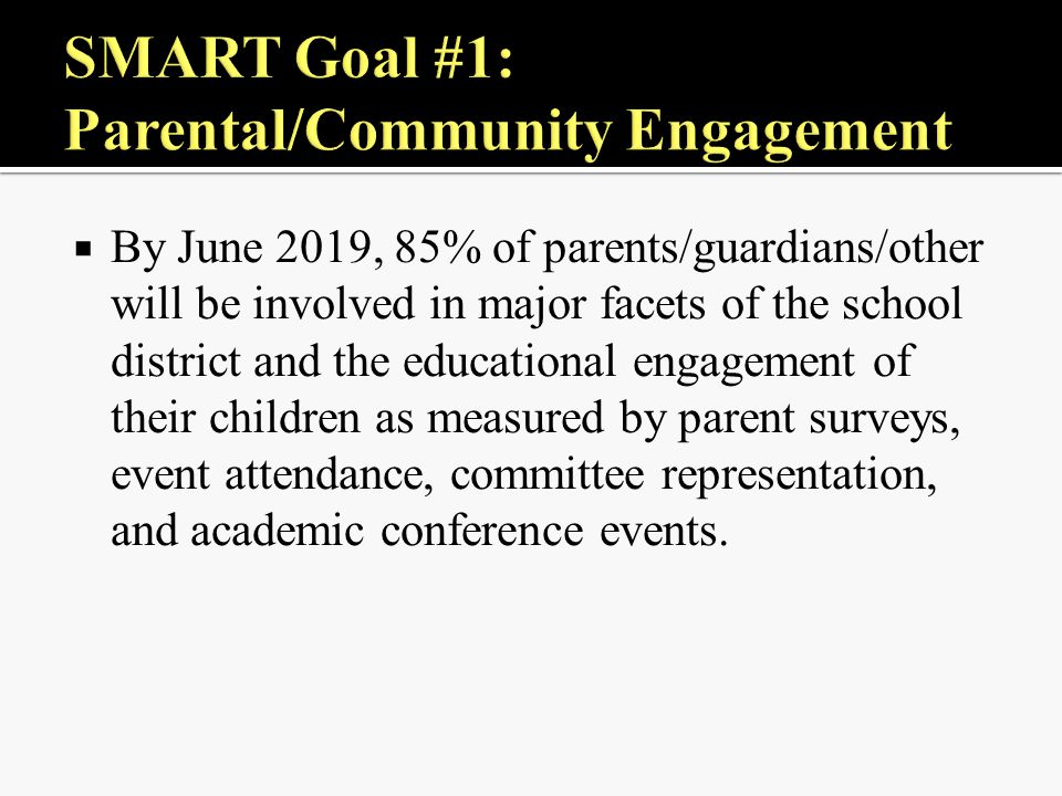  By June 2019, 85% of parents/guardians/other will be involved in major facets of the school district and the educational engagement of their children as measured by parent surveys, event attendance, committee representation, and academic conference events.