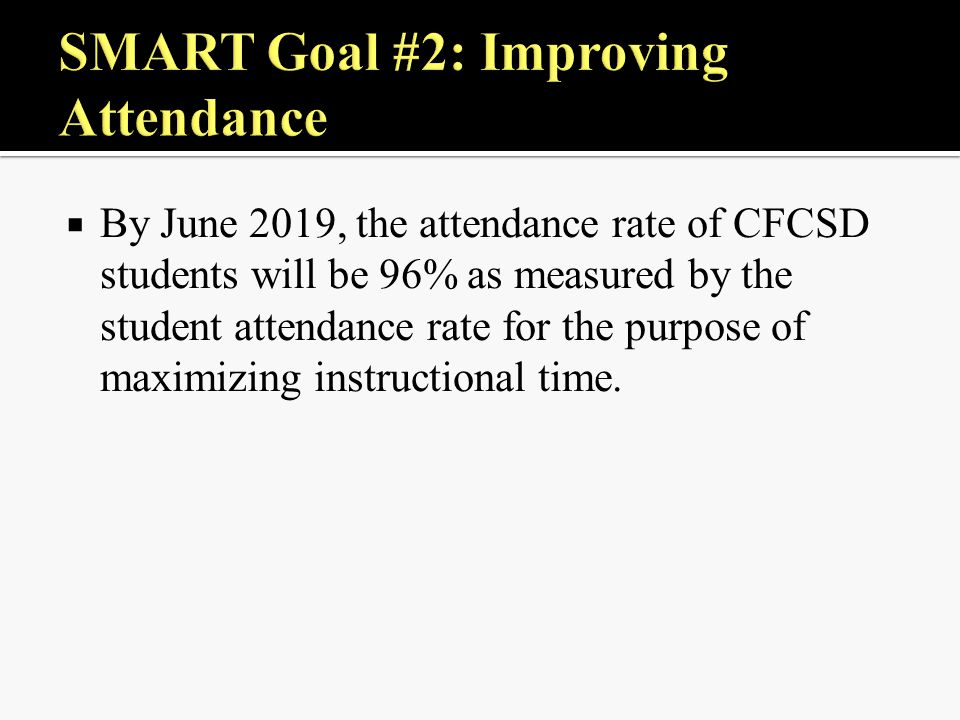  By June 2019, the attendance rate of CFCSD students will be 96% as measured by the student attendance rate for the purpose of maximizing instructional time.